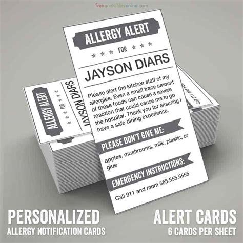 allergy card template grayscale printable allergy alert card free printables