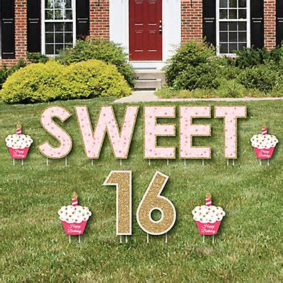 Sweet 16  Yard Sign Outdoor Lawn Decorations  Happy