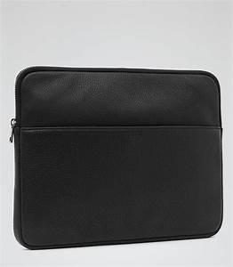 linton black leather document holder reiss With mens leather document pouch
