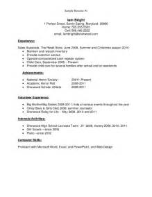 exle high school student resume no experience sle resume for high school graduate free