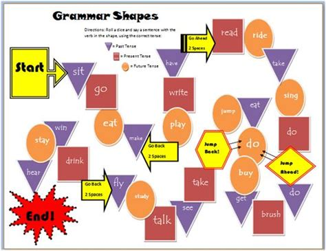 printable esl board game grammar shapes tenses