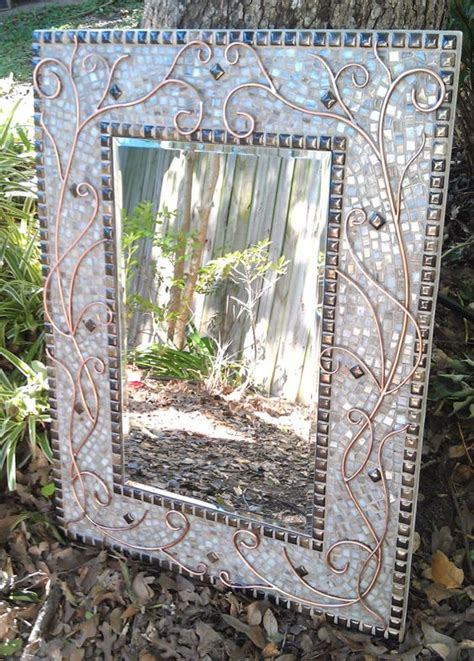 large mosaic mirror lovely copper white  bronze