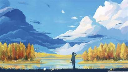 Painting Scenery Fall Wallpapers Desktop Background Landscape