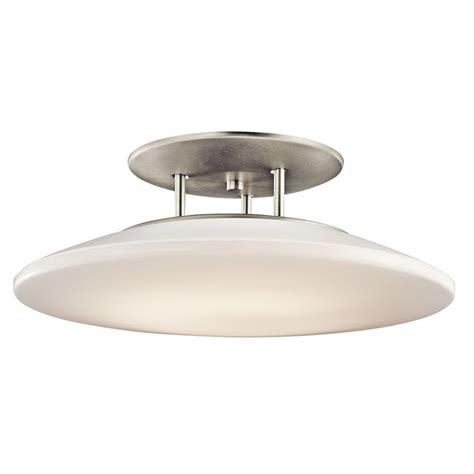 brushed nickel flush mount ceiling light shop kichler lighting ara 20 in w brushed nickel semi