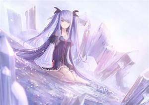 Water dress cleavage long hair barefoot purple hair ...