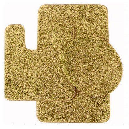 pc  gold banded bathroom set bath mat countour rug lid