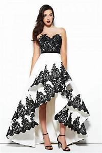 Lovely Illusion Neckline High Low White And Black Taffeta ...