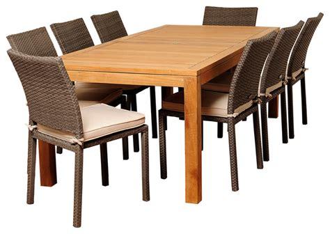 damian 9 teak and wicker rectangular patio dining