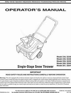 Mtd 31a 250 800 User Manual Snow Thrower Manuals And