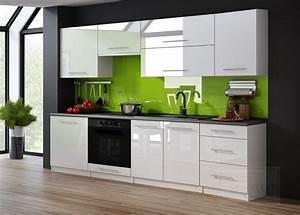 Küchenzeile Hochglanz Weiß : kaufexpert k chenzeile linda wei hochglanz 240 cm k che k chenblock mdf arbeitsplatte ~ Orissabook.com Haus und Dekorationen