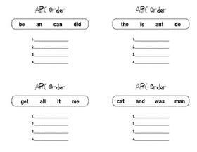 initial letter alphabetical order worksheets