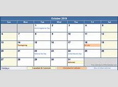 October 2019 Calendar With Holidays monthly printable