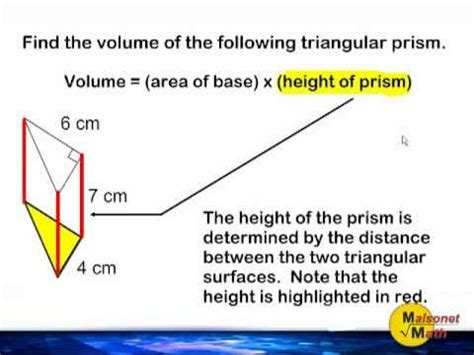 Volume Of A Triangular Prism Youtube