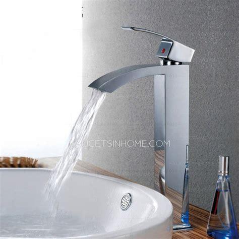 cheap waterfall flat tall vessel mount bathroom sink faucet