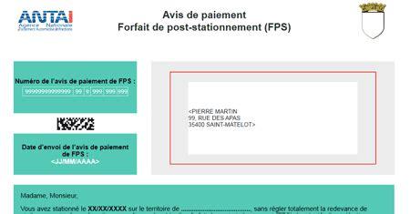 fr fps paiement avis de paiement fps forfait post stationnement