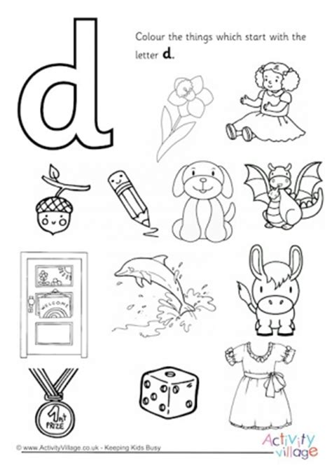 picture of objects starting with letter d initial letter colouring pages 30311