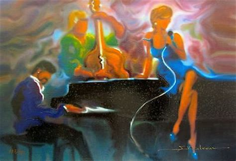 steve bloom cool jazz hand paints  canvas piano bar oil