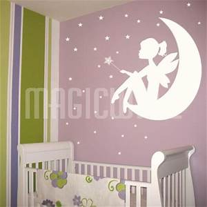 fairy little girl moon wand stars wall decals With fairy wall decals