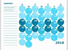 2018 Monthly Colorful Calendar for Kindergarten Free