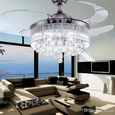 living room ceiling light fan 2017 led ceiling fans light ac 110v 220v invisible blades
