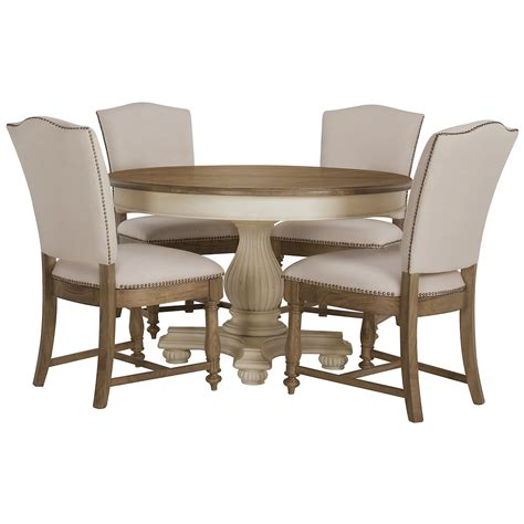 two tone round dining table set city furniture coventry two tone round table 4