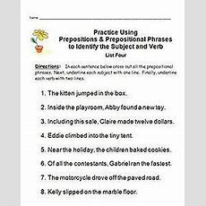 Identifying Subjects & Verbs; Easy Mastery Using Prepositions & Prep Phrases  School Stuff