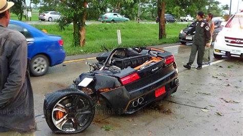 worst bugatti crashes lamborghini gallardo driver uninjured after crash splits