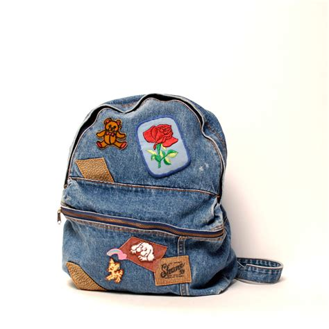 7978ccc3fed9e DENIM blue jean 80s BACKPACK large unisex PATCHES