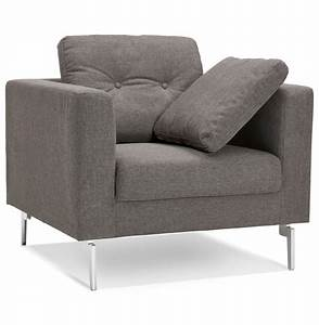 Fauteuil Salon Design : fauteuil de salon 1 place sixty mini en tissu gris tr s moderne ~ Teatrodelosmanantiales.com Idées de Décoration