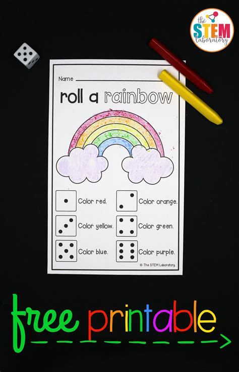 roll a rainbow the stem laboratory 857 | What a fun preschool or kindergarten math game Roll a rainbow. Great counting and reading game.