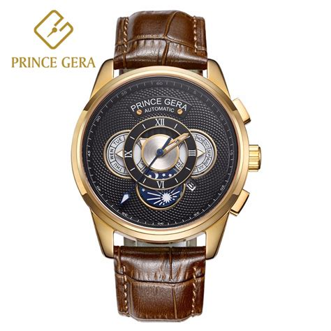 prince gera prince gera mechanical watch men luxury 18k gold three dial with calendar automatic men s