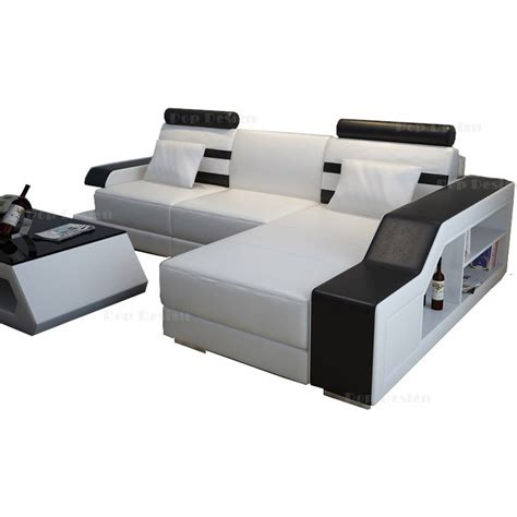 canape en cuir design canapé d 39 angle en cuir castel éclairage intégré pop