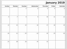 January 2019 Printable Blank Calendar