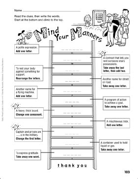 mind your manners word ladder grades 4 6 printable skills sheets