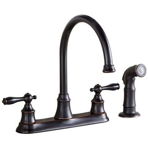 rubbed bronze kitchen faucet shop aquasource oil rubbed bronze 2 handle high arc kitchen faucet side with spray at lowes com