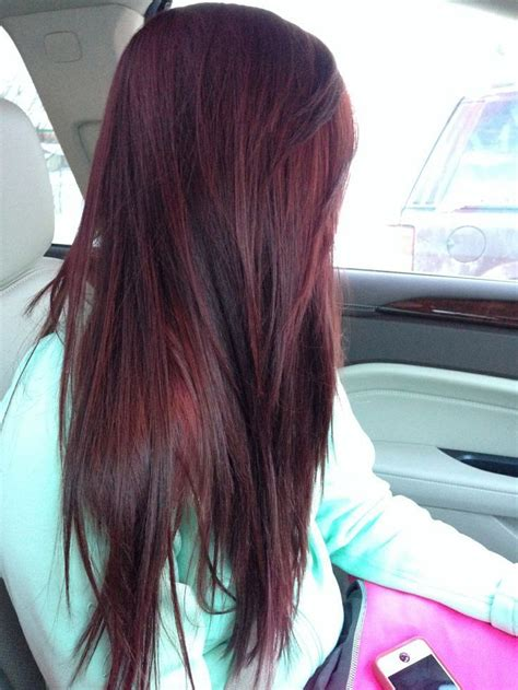 straight burgundy plum brown hair color white nice