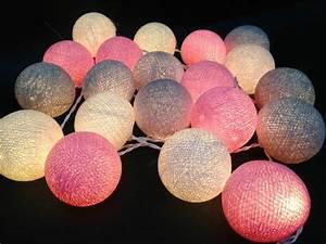 Guirlande Lumineuse Boule Rose : mixte 20 guirlandes boule coton gris rose blanc pour patio ~ Melissatoandfro.com Idées de Décoration