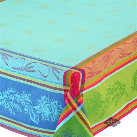 french jacquard table runner 62 quot square cezanne blue french jacquard tablecloth i