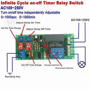 Ac 110v 220v Adjustable Infinite Cycle Delay Timer Time