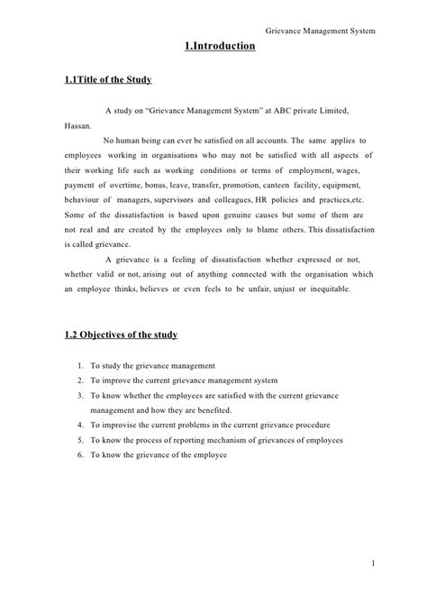 A study on grievance management system conducted at abc