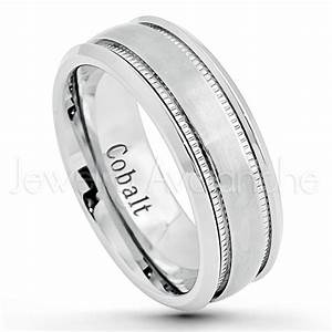 8mm cobalt wedding band brushed finish comfort fit With cobalt chrome mens wedding rings