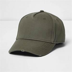 river island khaki distressed baseball cap in green for