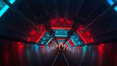 Neon Tunnel Dark Wallpapers Escalator 4k Resolution