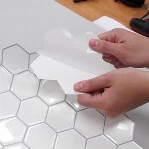 Carrelage Adhésif Mural : carrelage adh sif mural hexagonale blanc 26x26 ~ Premium-room.com Idées de Décoration
