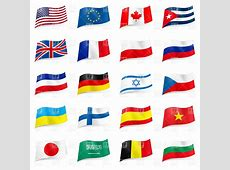 Set of world flag icons Vector Illustration of Signs