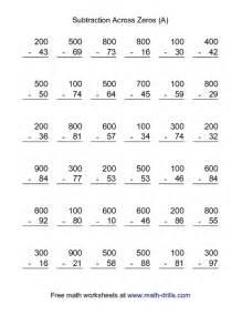 subtract across zeros math worksheets borrowing across zeros
