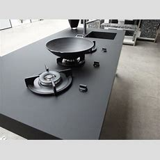 Kitchen, Nanotech Countertop In Black With Built In Gas