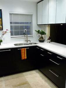 Black and white kitchen cabinet for Kitchen colors with white cabinets with contemporary framed wall art