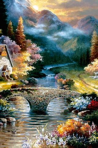 Animated Nature Wallpaper Gif - animated 320x480 171 пасторальный пейзаж 187 cell phone
