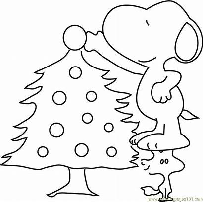 Coloring Snoopy Christmas Tree Decorating Pages Sheet